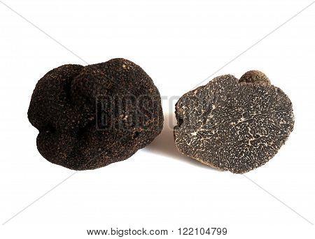 sliced black truffel (tuber melanosporum) isolated on white