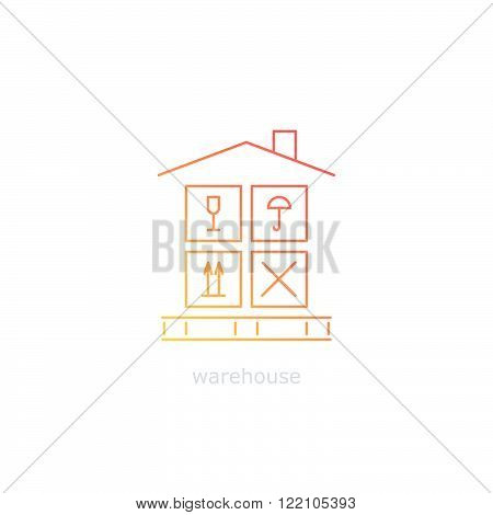 Warehouse sign. Leasing of premises for storage. Cargo handling with care. Package insurance concept. Thin lines, flat design.