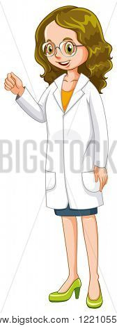 Female doctor in white gown illustration