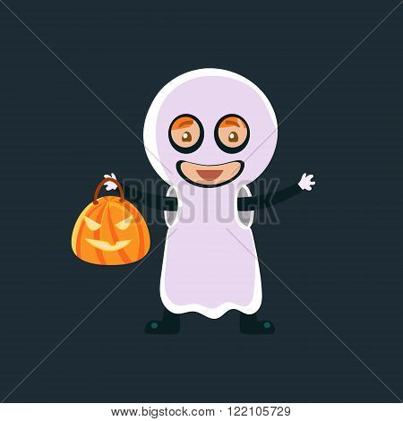Kid In Ghost Haloween Disguise Funny Flat Vector Illustration On Dark Background
