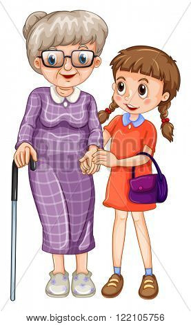 Little girl and grandmother illustration