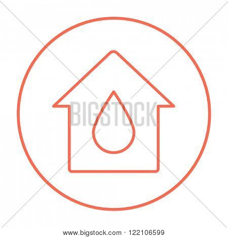House with water drop line icon.