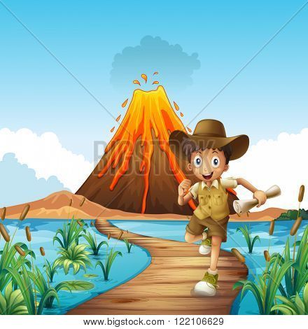Boy running on the bridge with volcano background illustration