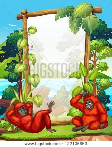 Frame design with two gibbons illustration