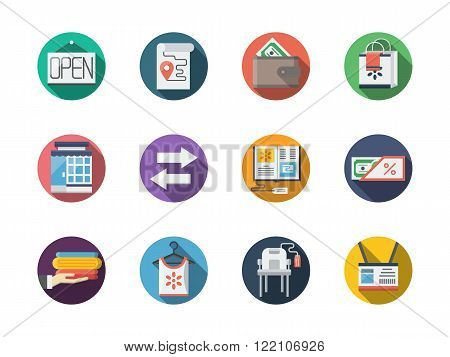 Commission store round flat color vector icons