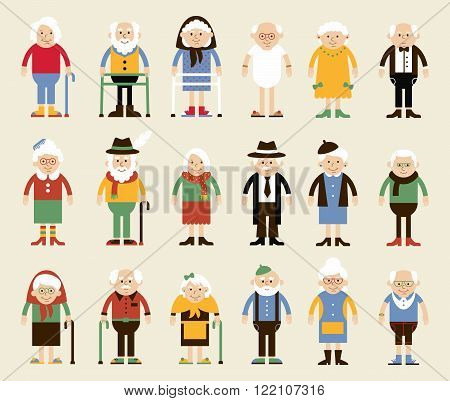 Vector set of characters in a flat style. Happy grandparents. Vector illustration in cartoon style. Grandparents in the standing position in different clothes.