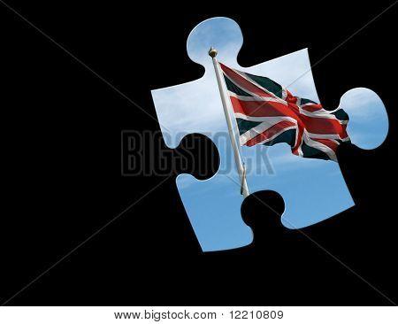 Bandera de la British Union Jack superpuesta en la pieza del rompecabezas.