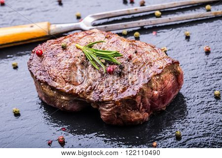 Steak. Grill beef steak. Portions thick beef juicy sirloin steaks on grill.