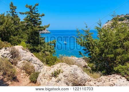 View of the sea. Rhodes Dodecanese islands Greece Europe