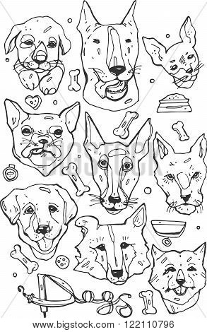 Hand painted set of Doodle icons. Different breeds of dogs bulldog Beagle Border CollieGolden RetrieverBull TerrierEnglish Toy TerrierFrench BulldogNorfolk terrierFox Terrier and others.