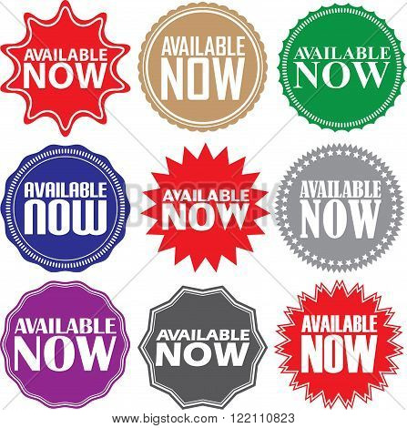 Available Now Signs Set, Available Now Sticker Set, Vector Illustration