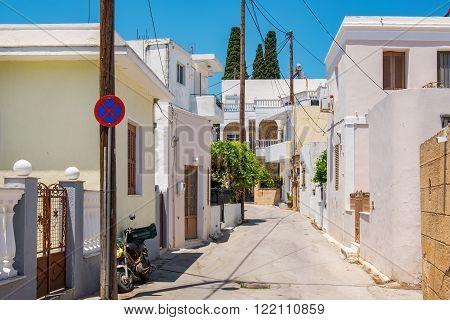 Street in village of Lardos. Rhodes Dodecanese Islands Greece
