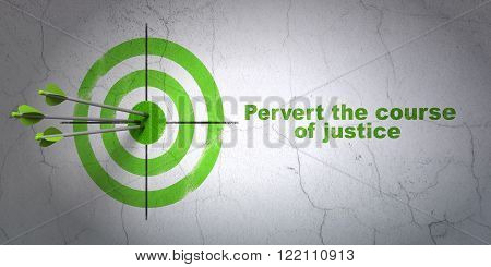 Law concept: target and Pervert the course Of Justice on wall background