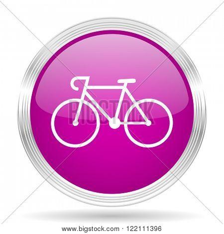 bicycle pink modern web design glossy circle icon