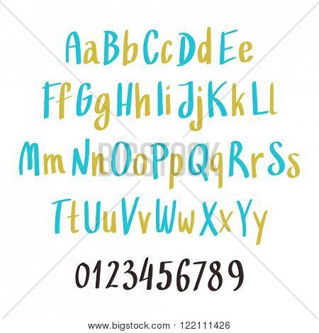 Alphabet letters: lowercase, uppercase and numbers. Vector alphabet. Hand drawn letters. Letters of the alphabet written with a paint brush