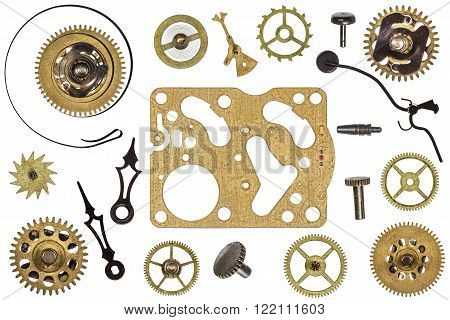 Spare parts for clock. Metal gears cogwheels and other details