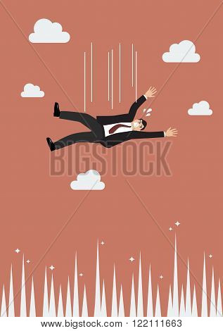 Businessman falling to the needle. failed in business