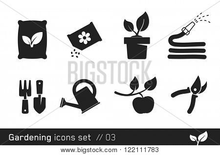 Gardening icon set  // Black and White