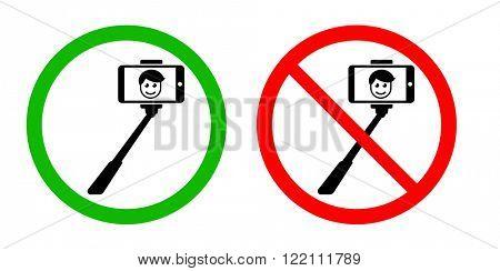 Selfie stick allowed / forbidden signs