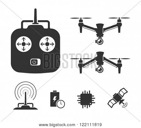 Quadcopter and flying drone icons on white background. // Black and White