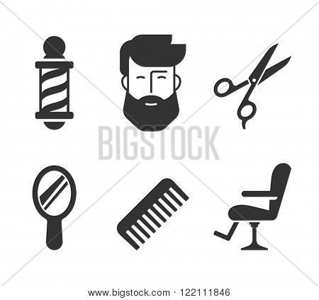 Barbershop icons. Bearded man face and barber tools.  // Black and White