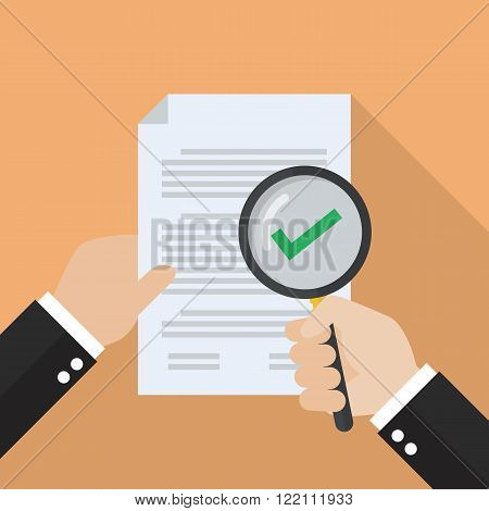 Hand holding magnifying glass with document paper approved. verification concept