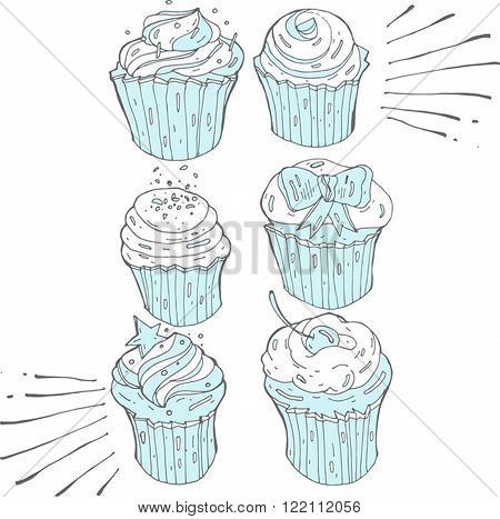 A vector set of six frosted cupcakes in blue and white colours.Hand draw illustration.Doodle design elements for banner flyer business card poster.