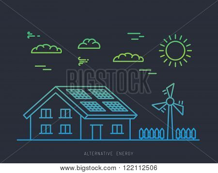 Alternative energy illustration. Alternative energy concept. Solar energy. Solar panels. Wind energy. Wind electrical generator.