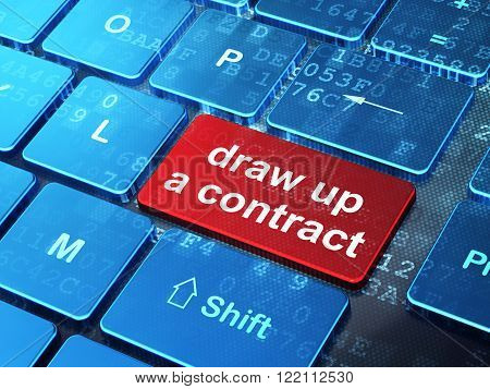 Law concept: Draw up A contract on computer keyboard background