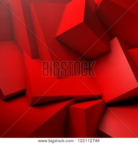 Abstract background with realistic overlapping red cubes