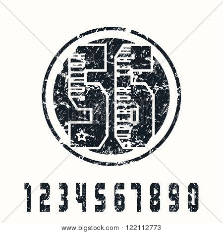 Sport numbers and emblem with texture. Graphic design for t-shirt. Black print on white background