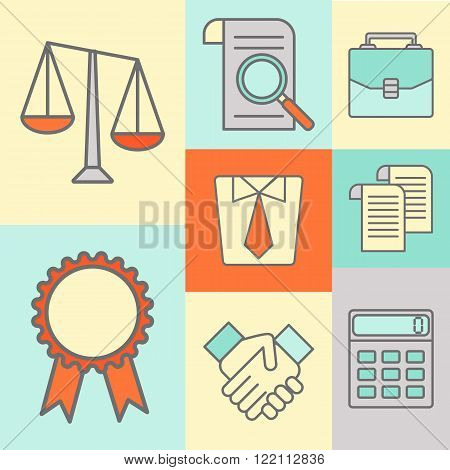 Vector set of color flat line icons for law firm