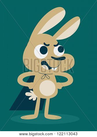 Vector illustration of a cartoon bunny wearing a cape standing and looking confident.