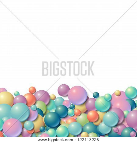 Background with scattered messy rubber balls at the bottom