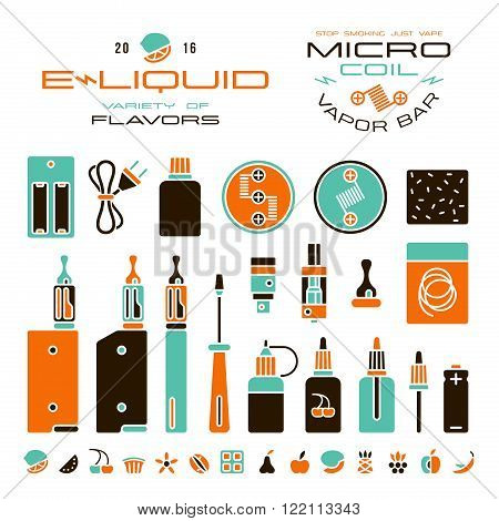 Vape Labels, E-cigarette And Fruit Flavor Icons