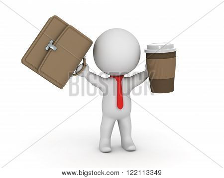 3D character businessman with red tie holding up a briefcase and a take-away coffee cup. Isolated on white background.