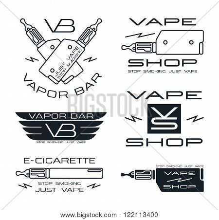 Vapor bar and vape shop logo in thin line style. Isolated on white background