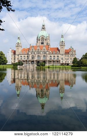 City hall in Hannover at Germany with water