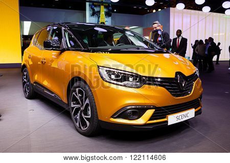 Geneva, Switzerland - March 1, 2016: Renault Scenic, front-side view presented on the 86th Geneva Motor Show in the PalExpo