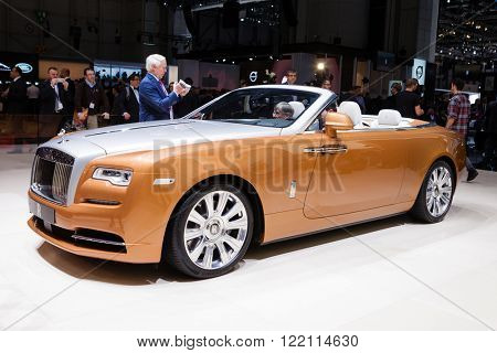 Geneva, Switzerland - March 1, 2016: Rolls Royce Dawn, front view presented on the 86th Geneva Motor Show in the PalExpo