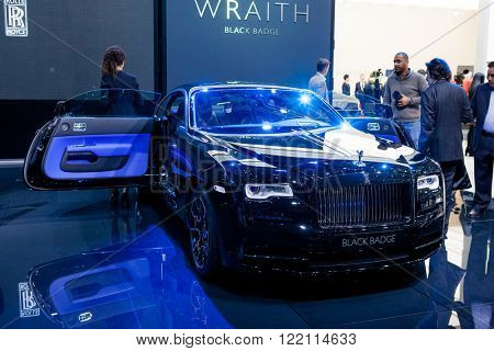 Geneva, Switzerland - March 1, 2016: Rolls Royce Wraith Black Badge Edition, front view presented on the 86th Geneva Motor Show in the PalExpo