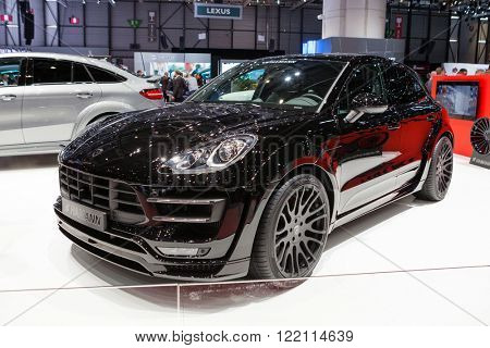Geneva, Switzerland - March 1, 2016: Hamann Porsche Macan, side-front view presented on the 86th Geneva Motor Show in the PalExpo