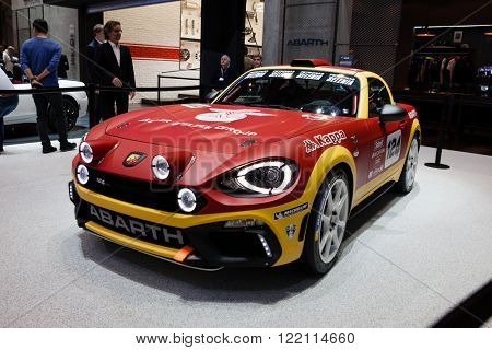 Geneva, Switzerland - March 1, 2016: Fiat Abarth 124 Rally, front-side view presented on the 86th Geneva Motor Show in the PalExpo