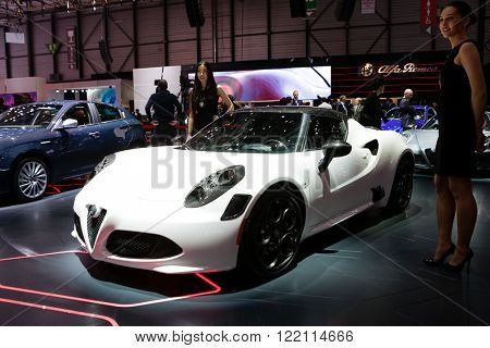 Geneva, Switzerland - March 1, 2016: Alfa Romeo 4C Coupe, front-side view presented on the 86th Geneva Motor Show in the PalExpo