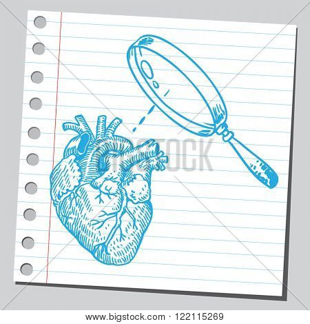 Heart and magnifying glass