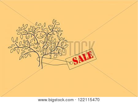 Tree with label sale on a beige background