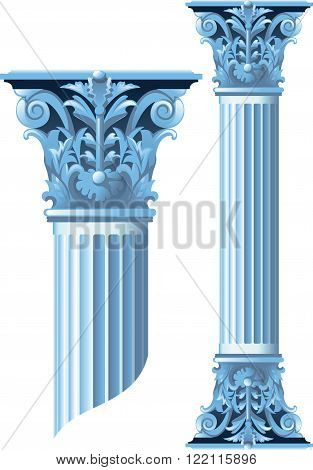 Ancient stone columns whose height is easy to change. Isolated on white