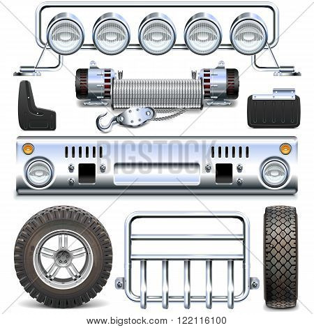 Vector Offroad Car Spares isolated on white background
