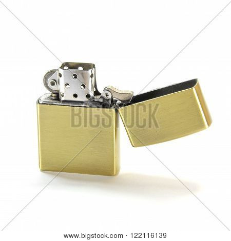 Closed Up Zippo Lighter Isolated on White Background