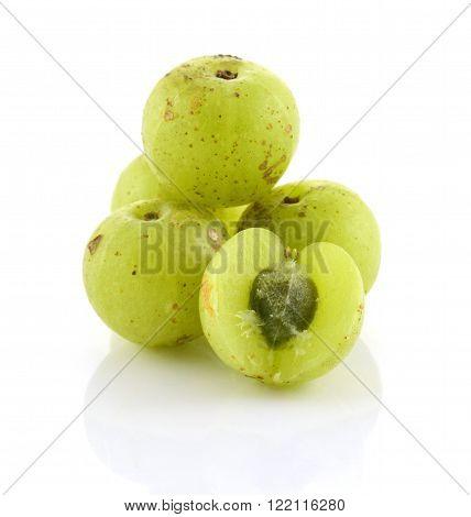 Indian gooseberriesc vegetarian berry on white background